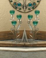 """2 turquoise teal blue green peacock 18"""" candelabra candle holder wedding table"""