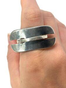 Superb Heavy Vintage Sterling Silver 925 Designer Studio Ring Size M 10g #1638
