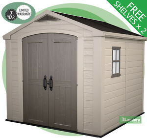 KETER FACTOR 8x8 Garden Shed 2.5m x 2.5m 10 Yr Wrnty - FREE Shelves