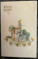 Vintage Easter Postcard Girl In Dress Playing With Chicks Egg