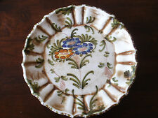Unique Handmade Painted Plate Colorful Blue & Sienna Flowers w/Scalloped Edges