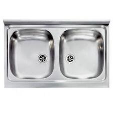 Lavello Appoggio Acciaio Inox  Monostampo 80X50 2 Vasche,compra dal produttore!