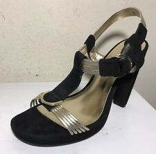 Calvin Klein Women Shoes Heels Alisa Size 6 M Black Suede Gold Leather Buckle