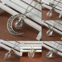 Wish Necklace Real Dandelion Seeds Glass Pendant Long Chain Jewelry Women Gift