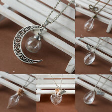 Wish Necklace Real Dandelion Seeds Glass Wishing Bottle Pendant Chain Jewelry