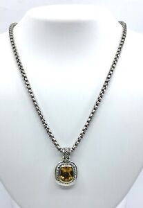 David Yurman Sterling Silver 14K Yellow Gold Citrine Cable Pendant Necklace 20in