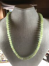 Vintage Nephrite Jade Beaded Necklace With 14 K Clasp. 8 MM Beads