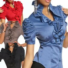 Laeticia Dreams Ladies Flounce Ruffle Short Sleeve Stand Up Collar Blouse Shirt