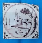 Antique 18th century hand painted English Delft landscape tile in manganese