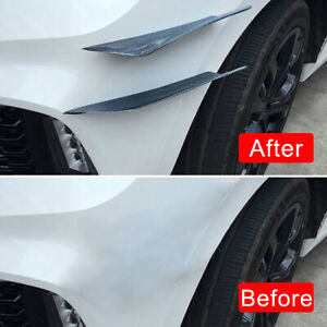 4pcs Carbon Fiber Car Bumper Valence Spoiler Angle Fin Canard Splitter Diffuser
