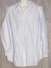 NEW CINTAS BLUE Pinstripe Career Work Uniform LS Blouse Shirt Top Sz 16 W TALL