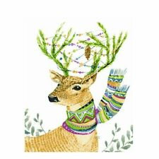 Christmas Deer Flowers Colorful Paint By Numbers Kits DIY Number Canvas Painting