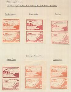 COLOMBIA STAMPS 1920 CCNA AIRMAIL 10c SE-TENANT PAIRS x6 DIFFERENT SHADES, RARE