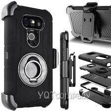 NEW LG G5 Case Cover Screen Protector Kickstand Holster Armor Belt Clip Black