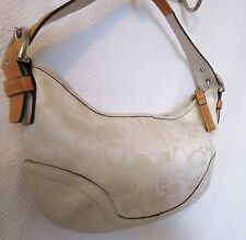 Preloved Coach Signature C Winter White Small Bag Purse with leather trim