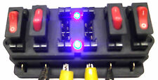 LED Fuse Box with Blue Flashing Leds & On Off  Switches and 10 & 15 Amp fuse