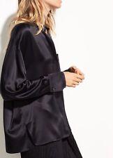 NWT Vince Single Pocket Satin Silk Blouse, Black Size S $295