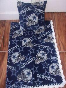 DALLAS COWBOYS NFL BABY-TODDLER BLANKET FLEECE CROCHET EDGE+ PILLOW COVER