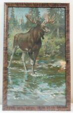 Rare Famous Artist Philip Goodwin Framed Print of a Moose Calendar Painting
