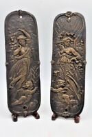 """Pair of Bronze Metal Classical Figures of Woman Plaques w/ Cherubs ~ 11"""" Tall"""