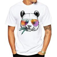 New Men's Fashion Cool Panda Design T-Shirt Short Sleeve Cool Tops Hipster Tee