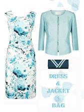 New 20/22 Jacques Vert Mother of the Bride Ivory Aqua Teal Dress Jacket Bag