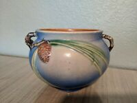 ROSEVILLE POTTERY BLUE PINE CONE JARDINIERE CABINET VASE 1930's VINTAGE 632-4