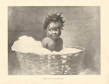 Black Baby, Free Cotton And Free Wool, by Kemble, Vintage 1898 Antique Art Print