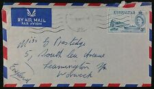 Gibraltar 1956 Airmail Cover to UK with QE2 3d Ocean Going Liner