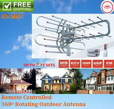 HDTV 1080P Outdoor Amplified Antenna Digital HD TV 180Mile 360 Rotor UHF/VHF/FMY
