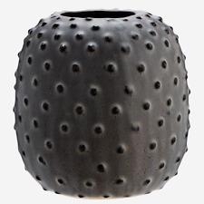 Small Grey Dotted Round Vase Planter, Ceramic Stoneware Flower Pot Retro Pot