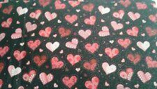 Valentines day hearts on black glitter valance 14x43