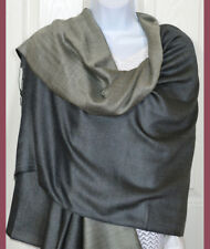 Hand Woven Double Sided Silk Shawl in Shades of Gray Color from India!