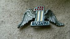 VINTAGE SUZUKI #1 MOTORCYCLE SILVERTONE BELT BUCKLE PRE-OWNED FREE SHIP USA