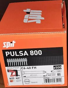 1 x 500 Stück SPIT Spezialnägel C6-40 FH,Gas für Pulsa 800 P Original Nägel 40mm