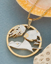 """Jelly Fish & Sting Ray Pendant, Necklace Gibraler Cut Coin 1""""diameter ( # 642 )"""