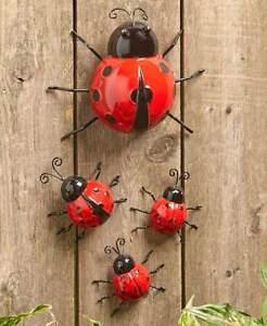 Set of 4 Metal Bugs Ladybugs Wall Ground Fence Garden Outdoor Decor Patio