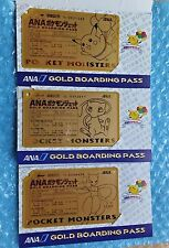Pokemon Japanese ANA PIKACHU, MEW & MEWTWO Gold Promo Boarding Pass 3-Card Set