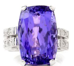 GIA Diamond 21.68ct Tanzanite Platinum Geometric Cocktail Ring 12.6 Grams NR