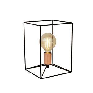 Black - Copper Retro Geometric Metal Cage 7W LED Light Table Lamp H28cm £18