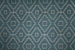 Kenza Teal - By Ashley Wilde - Geometric, Chenille Fabric - 2 Metre Piece