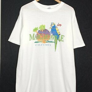 Vintage Jimmy Buffett Margaritaville Cozumel Mens T-Shirt White XL 2005 Parrot