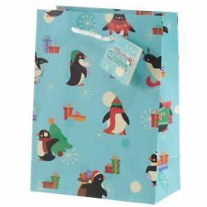 Christmas Penguins Gift Bag  - Medium Present 23x17cm
