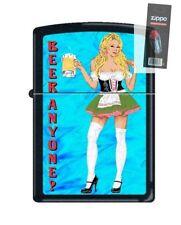 Zippo 218 Beer Anyone Woman Waitress Full Size Lighter + FLINT PACK