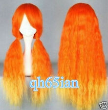 Cosplay Long Curly Orange & Yellow mix Cosplay Fancy dress party Wig +wig cap