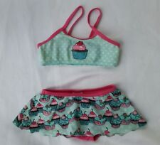 New H&M Cup Cake Print Bikini with Skirt-blue/pink 3-4yrs