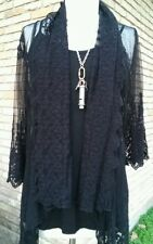 Floral Lace cardigan top with embroidered Black color medium  by apparel love