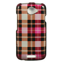 For T-Mobile HTC ONE S HARD Protector Case Snap On Phone Cover Hot Pink Checker