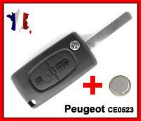 Coque PLIP Télécommande Clé Peugeot 106 107 206 207 407 + Lame Rainurée CE0523