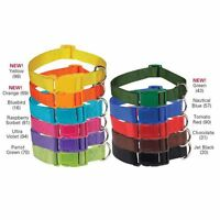 Nylon Pet Dog Collar Adjustable QR Durable 11 Colors 4 Sizes Bright and Basic